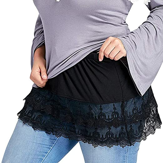 2b81c97567 Women's Tulle Skirts Layered Tiered Sheer Lace Trim Extender Half Slips Plus  Size Skirt Plus Size