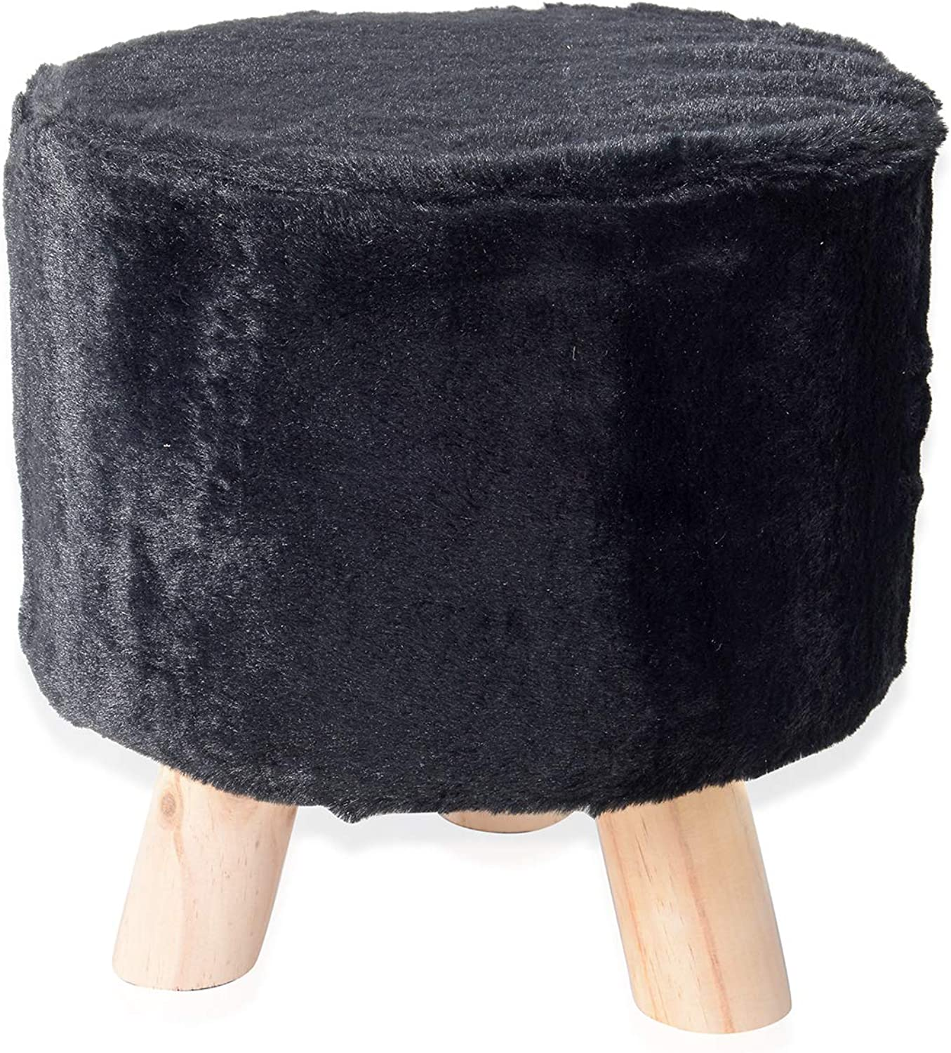 Home Office Decor Faux Fur Nursery Step Stool Seat Foot Bench with Wooden Legs