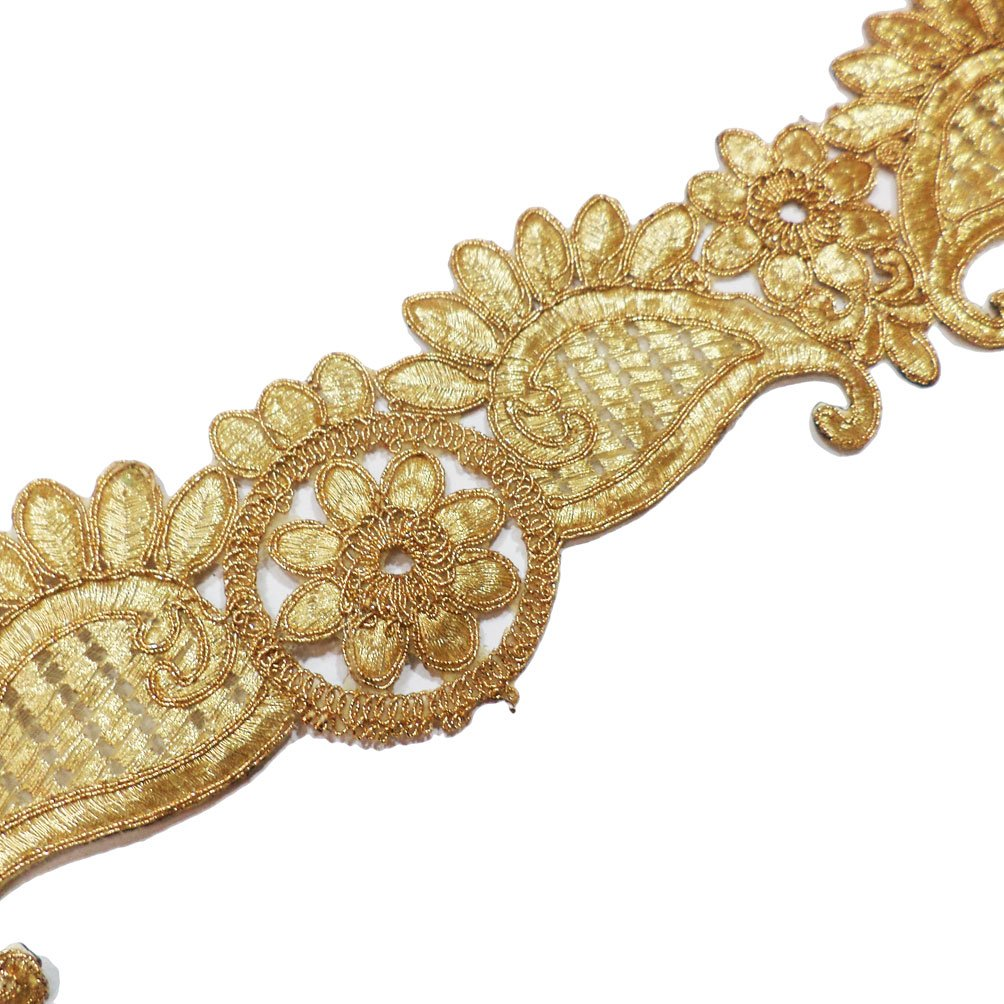 Metallic Gold Paisley Cut Work Embroidered Border Lace Traditional Sewing Crafted Trim 1 Yrd IMLISTREET