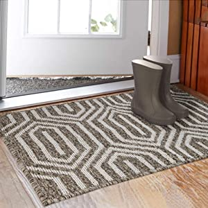 "Indoor Doormat 32""x 48"", Absorbent Front Back Door Mat Floor Mats, Rubber Backing Non Slip Door Mats Inside Mud Dirt Trapper Entrance Door Rug Carpet, Machine Washable Low Profile-Brown Time Cloister"