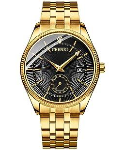 Fanmis Men's Luxury Analog Quartz Gold Wrist Watches Business Stainless Steel Band Dress Wrist Watch Classic Calendar Date Window 3ATM Water Resistant (Black)
