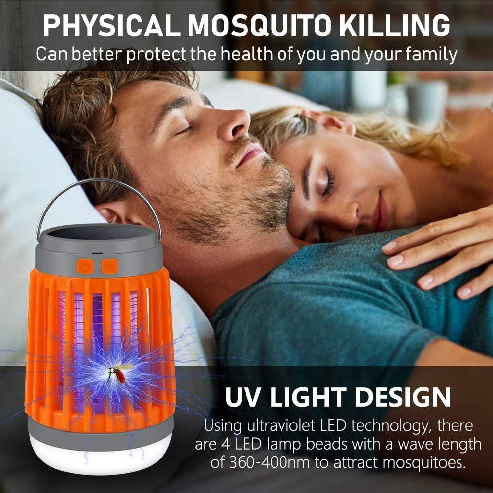 Vivibel Insektenvernichter Elektrisch 3 In 1 UV Moskito Killer Lampe Campinglampe Blitzlicht Insektenlampe Zeltlampe Solar und USB Aufladung Elektrisch M/ückenfalle M/ückenlampe f/ür Innen Au/ßen Blau