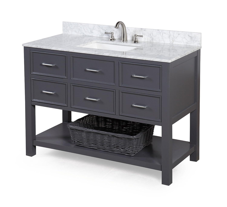 New Hampshire 48inch Bathroom Vanity CarraraCharcoal Gray