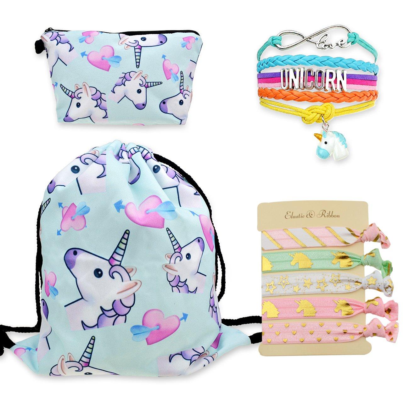 DRESHOW Unicorn Drawstring Backpack/Make up Bag/Hair Ties/Bracelet Gift Sets for Girls Pack 8