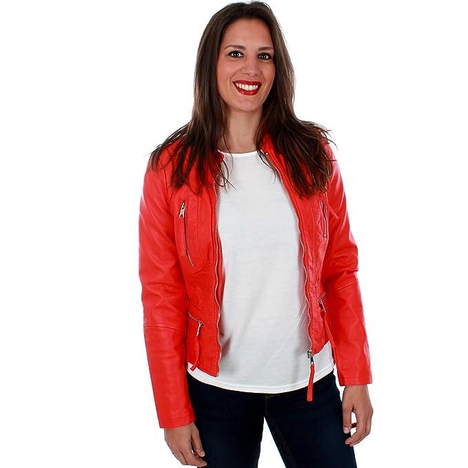 ef197270298 Vero Moda Cazadora VMLEKSI roja de Mujer.  Amazon.es  Ropa y accesorios