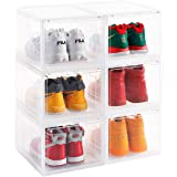 AOTENG STAR Storage Shoes Box Womens Mens Shoe Storage Box Plastic Foldable Stackable Sneaker Display Box Shoe Container Clea