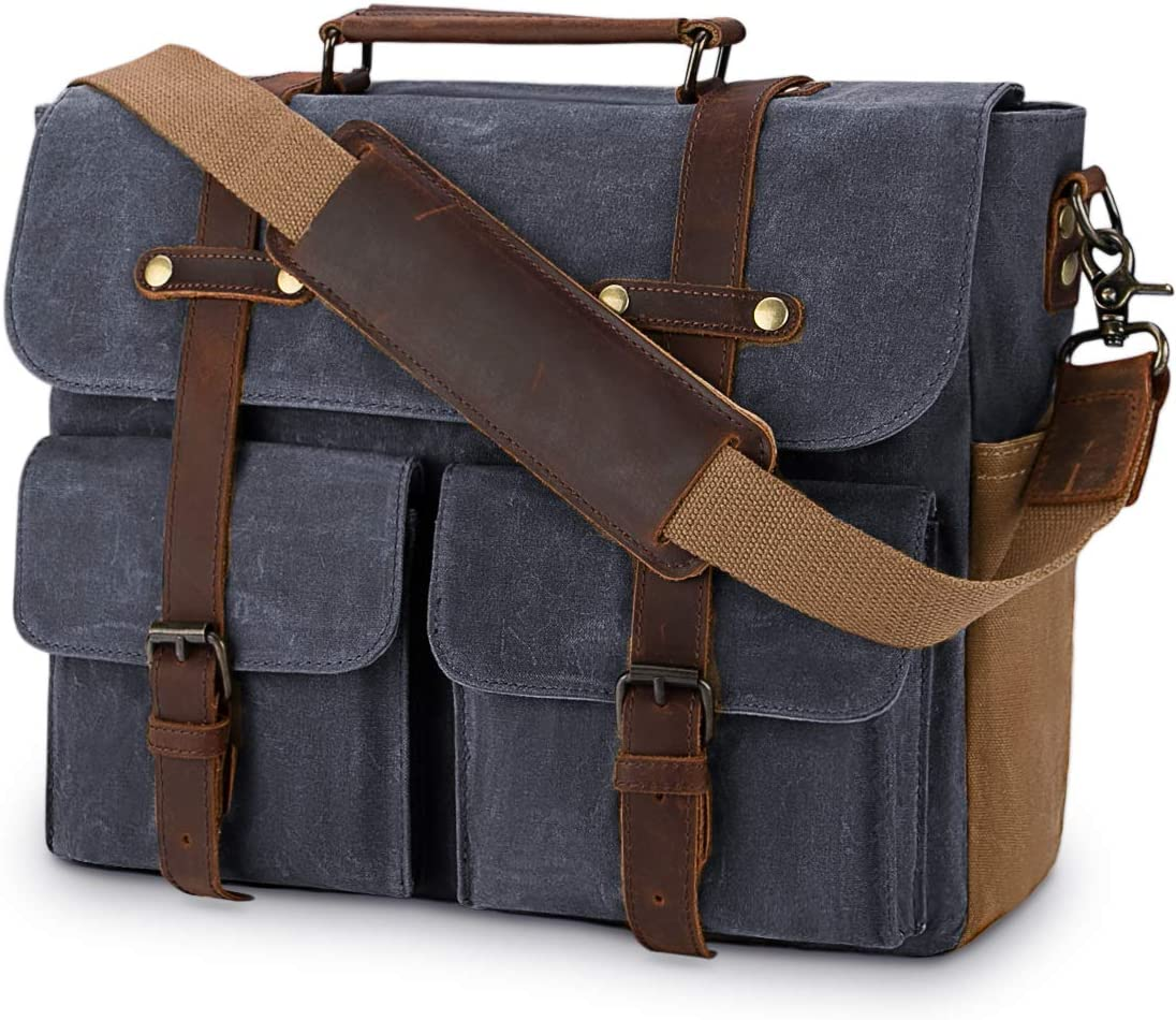 Laptop Messenger Bag for Men 15.6 Inch Waterproof Vintage Waxed Canvas Briefcase Genuine Leather Satchel Shoulder Bag Large Retro Computer Laptop Bag,Grey