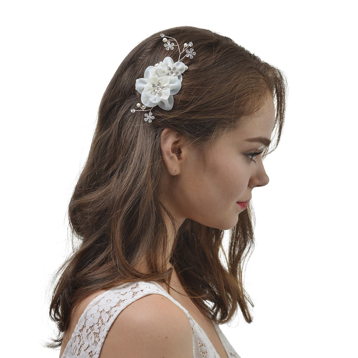 AWEI Wedding Frost Floral Hair Comb for Bride - Bridal Headpiece with Bead - Hair Accessories for Bridesmaids