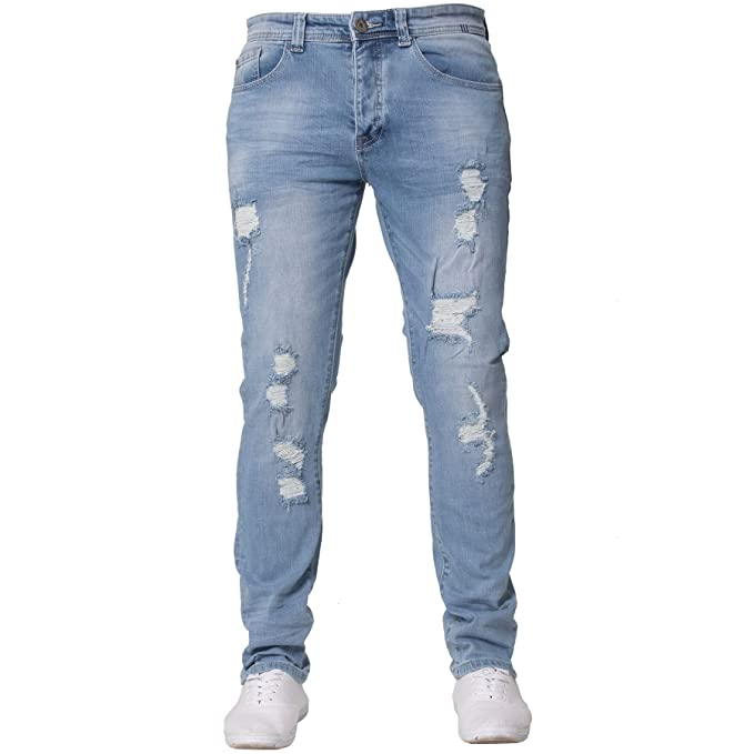 aa63a0dbb9 Eto Mens Slim Fit Ripped Jeans Stretch Distressed Denim Pants   Amazon.co.uk  Clothing
