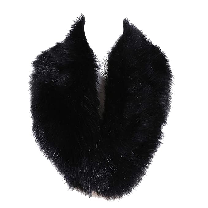 0e4efce61 Soul Young Faux Fur Collar Women's Neck Warmer Scarf Wrap,Black,One Size