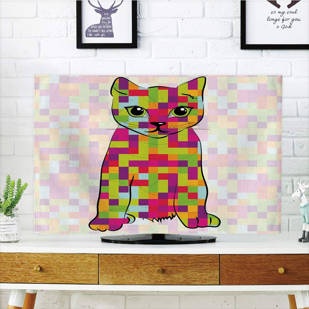 LCD TV Cover Lovely,Modern,Cute Kitty Featured Digital Fractal Pixel Cat Computer Illustration,Multicolor,Diversified Design Compatible 42'' TV