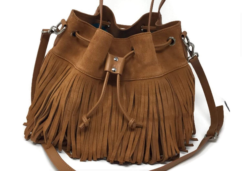 - McKaya Fringe Genuine Leather Shoulder Bag Brown