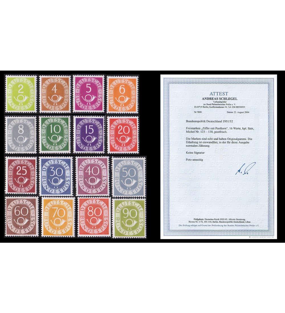 Goldhahn BRD Bund Nr. 123-138 postfrisch  Fotoattest Posthorn - Normale Zähnung Briefmarken für Sammler