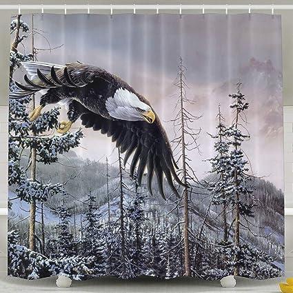 PAUSEBOLL Mountain Winter Bald Eagle Shower CurtainBath Curtains Bathroom Decor Sets With Hooks
