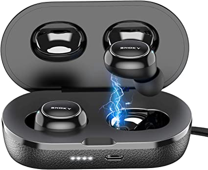 IPX8 waterproof Bluetooth earbuds for sports Wireless earbuds Bluetooth V5.0 wireless headphones built-in dual microphone headphones for iOS and Android stereo HiFi sound deep bass wireless headphones