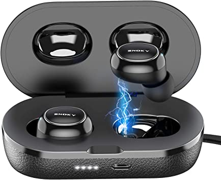 Amazon Com Wireless Earbuds Snoky Bluetooth 5 0 Earbuds Deep Bass Ipx7 Waterproof Binaural Calls In Ear Headphones Earphones True Wireless Earbuds With Charging Case Built In Dual Mic For Sports Gym Black Home Audio