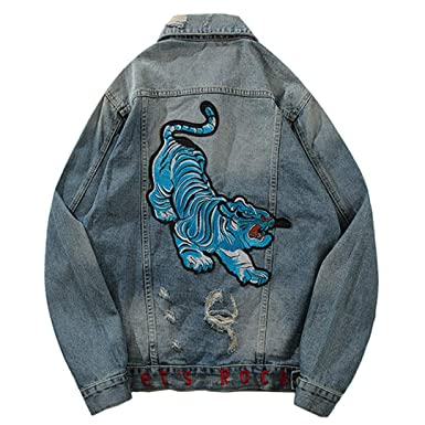 Mens Vintage Blue Tiger Embroidered Hole Hip Hop Denim Jacket