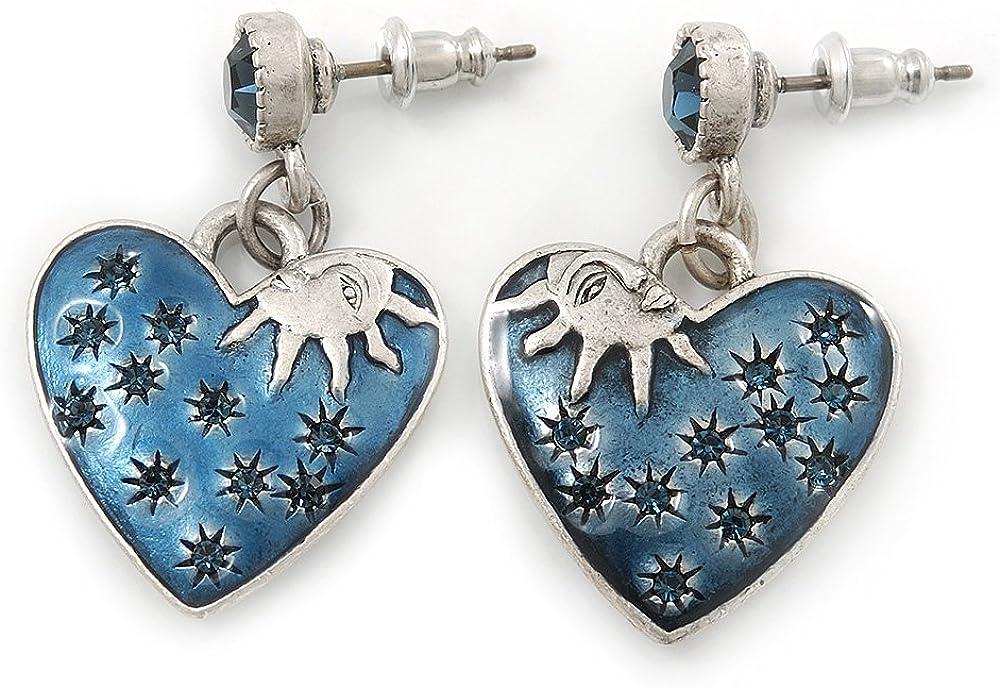 Inspiración Vintage esmalte azul, DE ' corazón'en pendientes de gota de plata antigua de - 33 mm de longitud