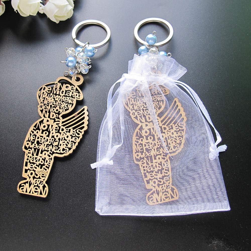 12 pc BAPTISM KEY CHAINS ANGEL BOY BLUE BAUTIZO COMMUNION RECUERDOS FAVORS w//bag