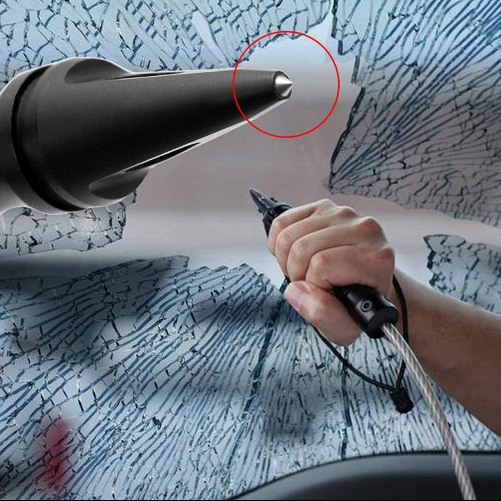 QYC Stinger Fouet,Brise-Vitre de Voiture,Disjoncteur Fen/être,Coup de Poing,Fouet Dautod/éfense,Fouet D/éfensif,Outil D/évacuation durgence,Outil de Sauvetage durgence,Longueur Totale 64 cm,Black