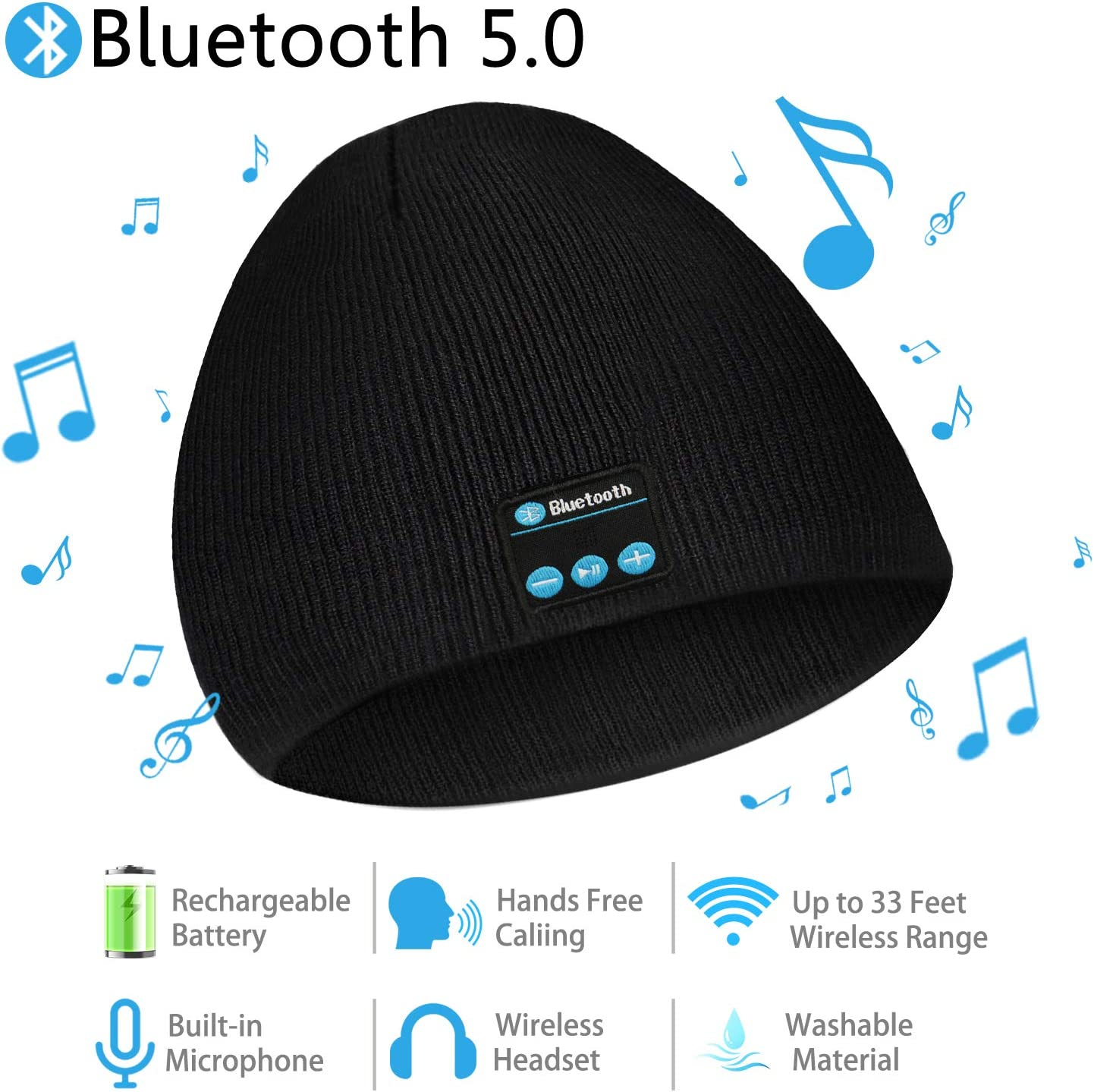 Bluetooth Beanie, Wireless Bluetooth 5.0 Headphone Beanie Hat for Men Women, Unisex Winter Music Hat Knit Slouchy Beanie Skully Cap with Stereo Speaker Headset Mic Hands Free for Outdoor Sports
