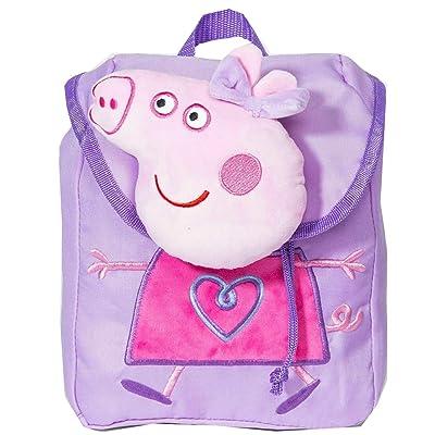 Peppa Pig Fashionable Girls Backpack Plush Small Bag Purple: Shoes