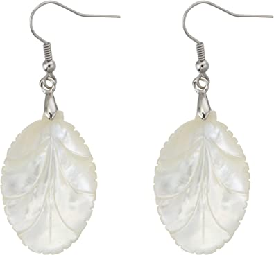 MagicYiMu Natural Abalone Shell Leaf Shape Drop Dangle Hook Earrings Jewelry for Women Girls Gift