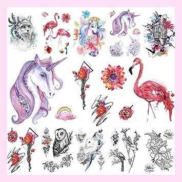 CARGEN® 10 hojas temporales tatuajes flor unicornio tatuaje ...