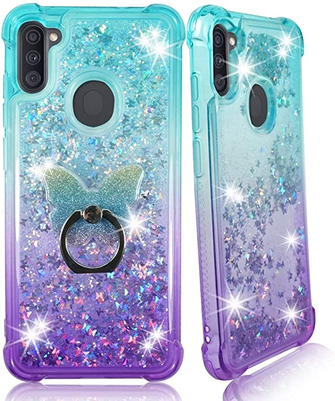 Herbests Compatible with Samsung Galaxy A9 2018 Glitter Case Sparkly Bling Rhinestone Diamond Soft TPU Crystal Clear Flexible Protective Cover with Finger Ring Grip Holder Stand,Gold