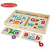 Melissa&Doug ABC字母画板益智玩具 (含13片双面木制画板和52个字母)