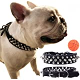 teemerryca Adjustable Microfiber Leather Spiked Studded Dog Collars with a Squeak Ball Gift for Small Medium Large Pets Like