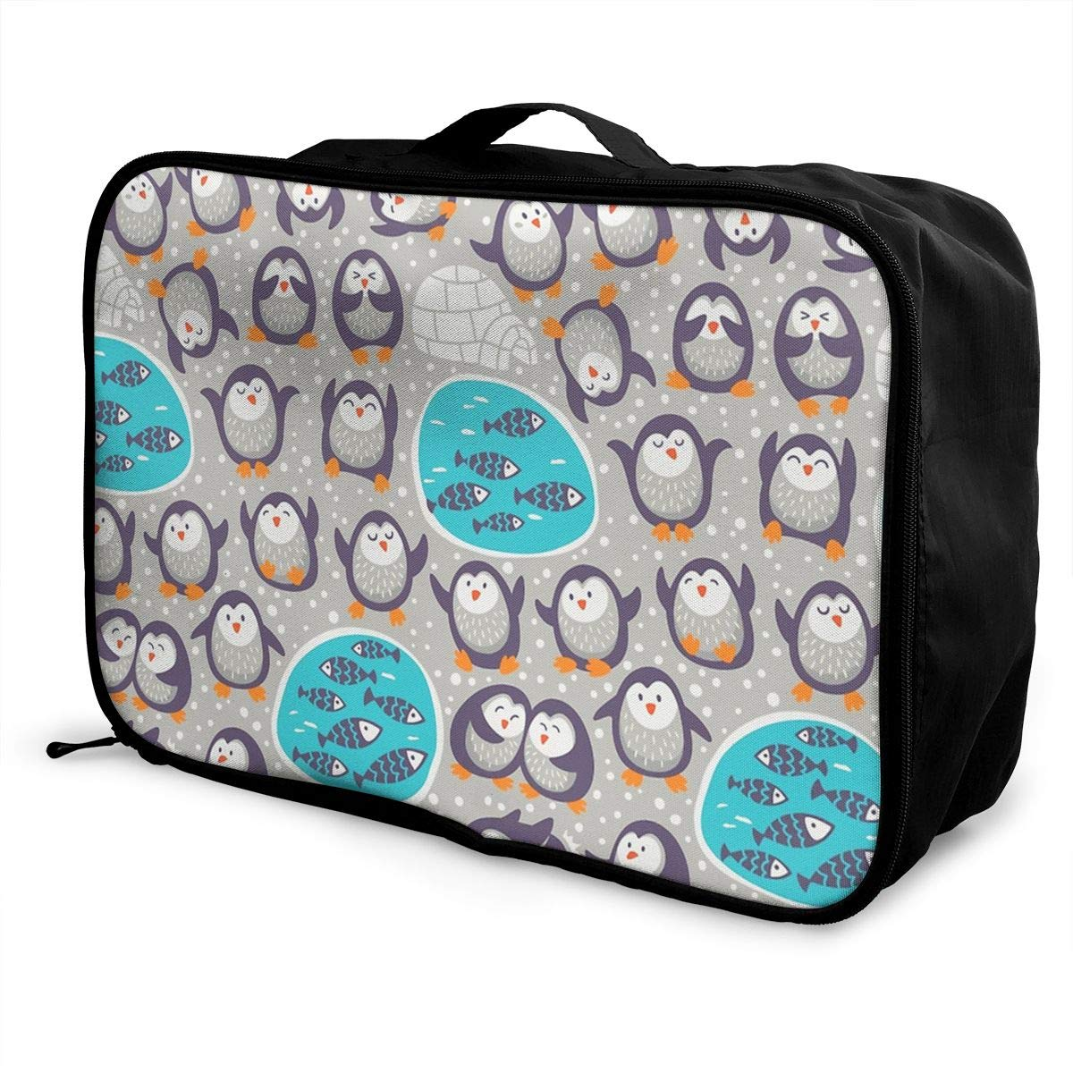 Penguins And Fish Travel Pouch Carry-on Duffle Bag Lightweight Waterproof Portable Luggage Bag Attach To Suitcase