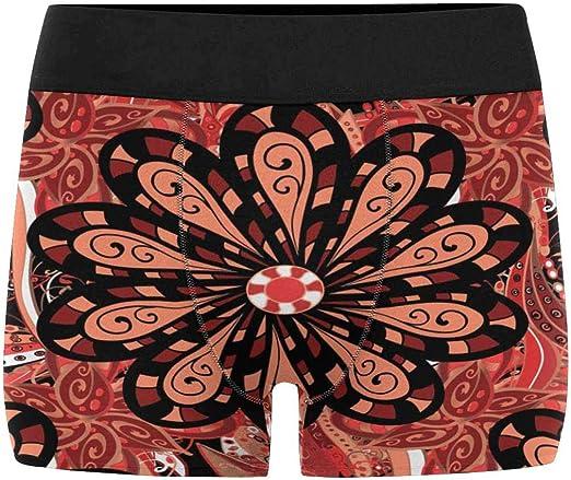 INTERESTPRINT Mens Boxer Briefs Red Flower Pattern XS-3XL