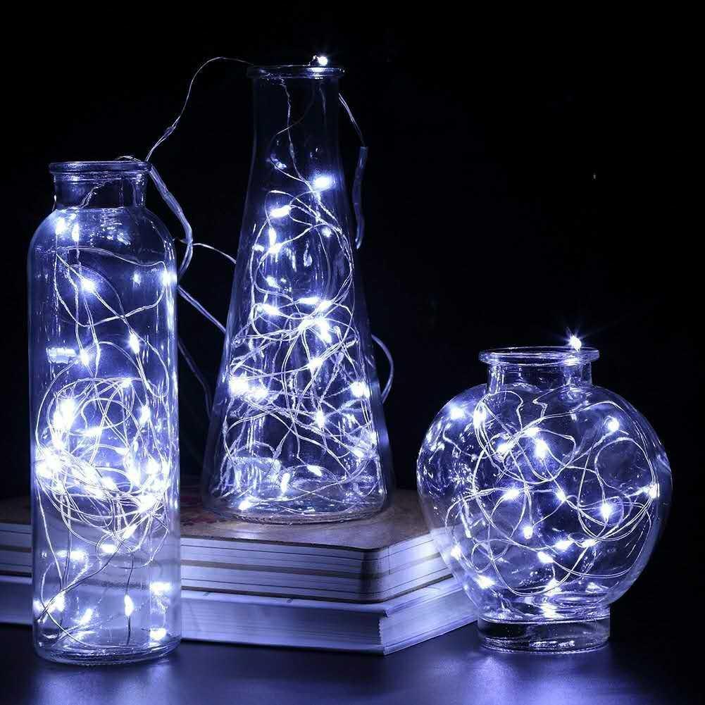 WD LEDストリングライト50 LED装飾フェアリーBattery Powered文字列ライト、銅線ライト寝室、ウェディング 33Ft ホワイト B075FY12SM 16840 クールホワイト クールホワイト