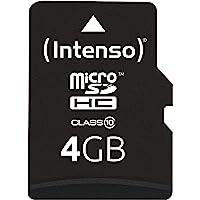 Intenso 3413450 Micro SDHC 4 GB Minneskort Inklusive SD-adapter, Svart