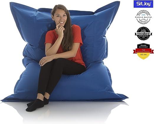 Sitjoy Fashion Sitzsack | 140x180 cm | Outdoor & Indoor | 390 Liter Füllung (Blau ohne Ringe | EPS Styropor Micro Perlen schadstoffgeprüft)