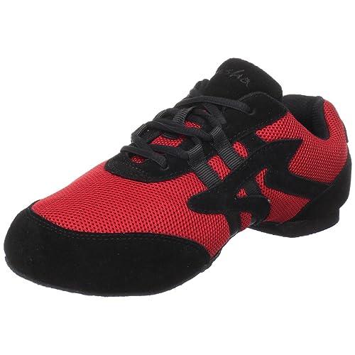 Sansha Salsette 1 Jazz Sneaker,Red/Black,3 Sansha (2 M US