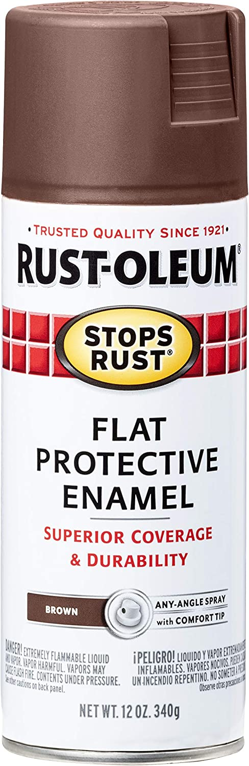 Rust-Oleum 214085 Stops Rust Spray Paint, 12-Ounce, Flat Brown