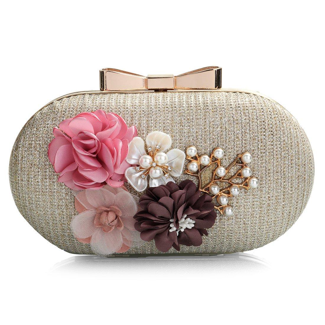 Flower Clutch Purses, Women Stylish Leather Pearl Rhinestone Evening Bag Floral Prom Bride Wedding Handbag (Gold)