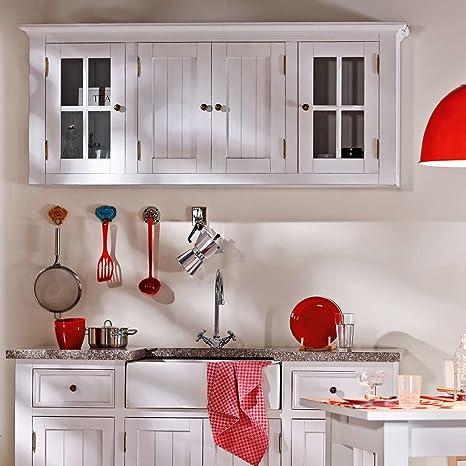 Butlers maple hill hängeschrank mit glastüren im amerikanischen retro look paulownia holz weiß amazon de küche haushalt