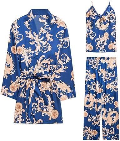 Macro Pijamas de Seda, Moda Sexy Ladies Primavera Y Verano Batas Batas de Seda Impresa Servicio de Traje de Tres Piezas: Amazon.es: Hogar