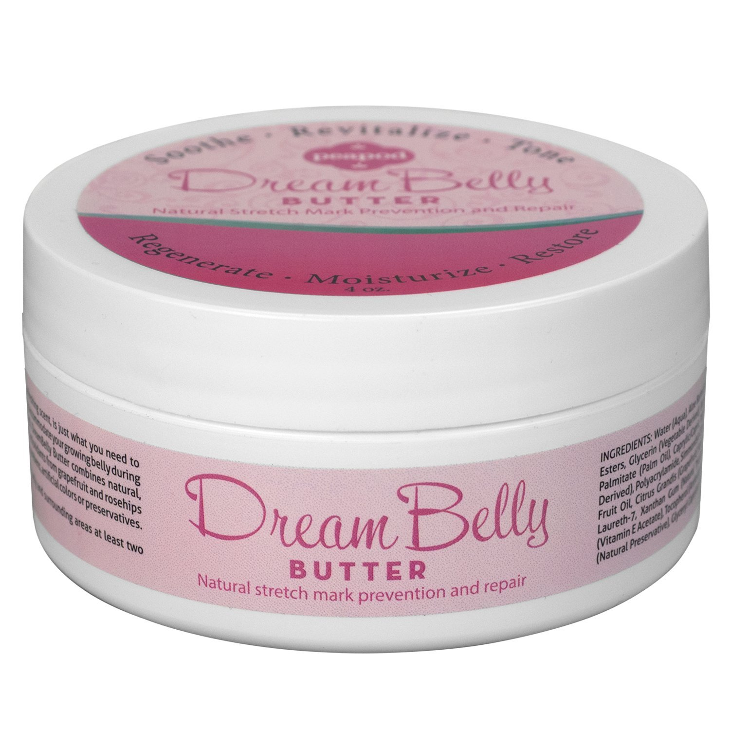DreamBelly Stretch Mark Butter, 4 oz, No Itch, No Stretch Marks, All Natural! Fairhaven Health