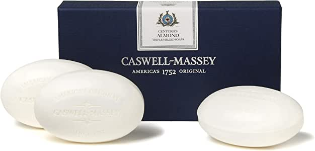 Caswell-Massey Triple Milled Luxury Bath Soap Set - Almond Cold Cream - 5.8 Ounces Each, 3 Bars