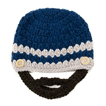ad408248199 Blue and Beige Beanie with Beard - Baby Boy Girl Toddler (Small)  Amazon.co. uk  Baby