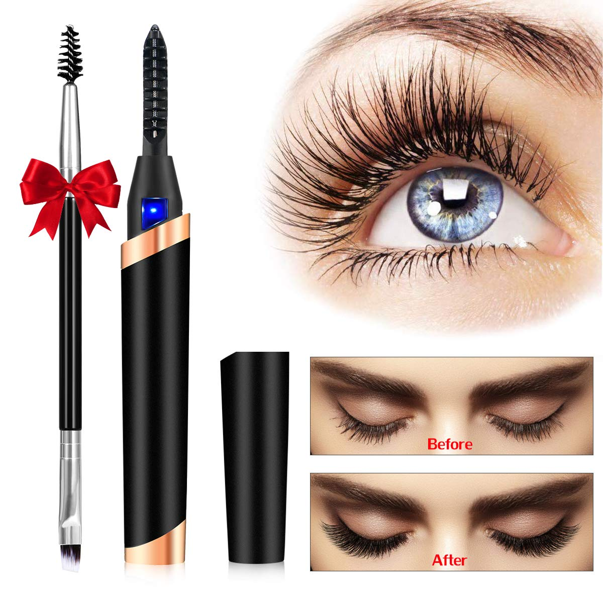 Heated Eyelash Curler, Electric Eyelash Curler, Portable Electric Makeup Eye Lashes Brush [New Upgrade] - Quick Heating Long Lasting, USB Rechargeable Eyelash Curler Tool
