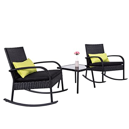 Cloud Mountain Outdoor 3 Piece Rocking Chair Set Wicker Rattan Bistro Set  Wicker Furniture   Two