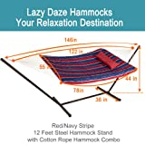 Lazy Daze Hammocks 12 Feet Steel Hammock Stand with Cotton Rope Hammock Combo, Quilted Polyester Hammock Pad, Pillow, Mag Bag and Cup Holder, Red/Navy Stripe