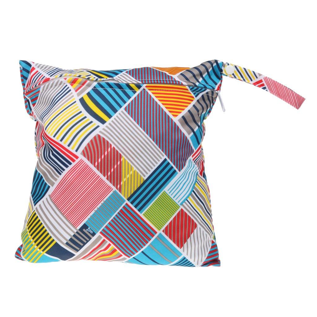 Damero Bolsa Ba/ñador Impermeable Bolsa de Pa/ñales Reutilizable Bolsa, Grande, Flecha gris