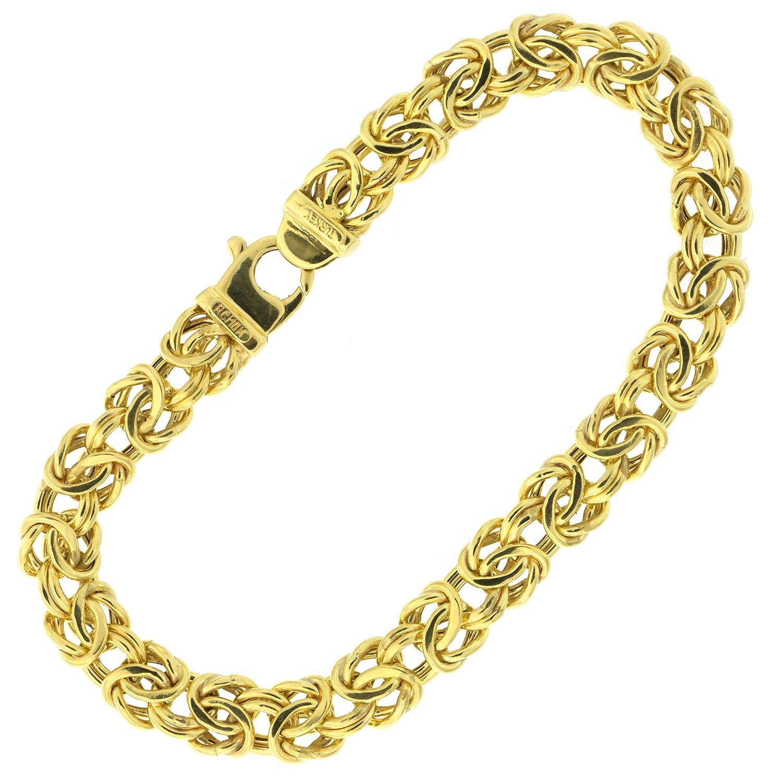 "10k Yellow Gold Puffed Byzantine Link Chain Bracelet, 7.25"" 8"""