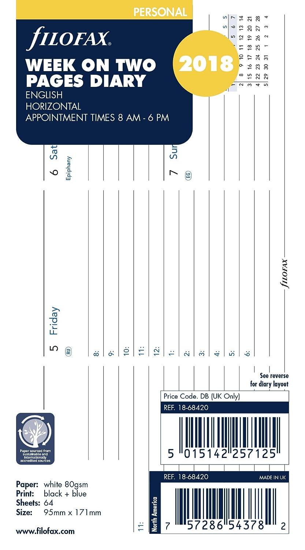 Filofax Personal Woche auf 2Seiten horizontal 2018(18–68420) 18-68420